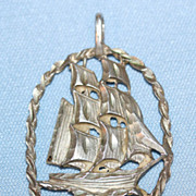 Sterling Silver Tall Masted Ship Pendant