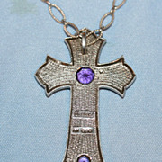 Silver Plated Cross w Amethysts & Scottish Agate Marked Miracle