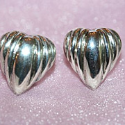 Stunning Sterling Clip Back Heart Earrings