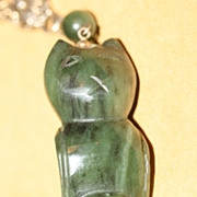 Vintage 1950s Carved Jade Cat Pendant  w chain