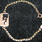 Vintage Young Lady's 14K Yellow Gold & Diamond Bracelet