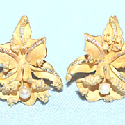 Vintage  14K YG & Cultured Pearl Orchid Pierced Earrings