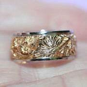 Vintage 14K Yellow Gold Ring Wedding Band w Carved Flowers