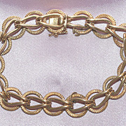 Vintage Heavy 14K Yellow Gold Bracelet 8 inches