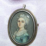 Antique Water Color Miniature Portrait Brooch Pendant signed Coad