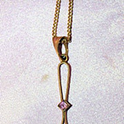 Victorian Pendant with Amethyst and Diamond 9 Karat Y Gold