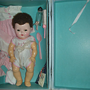 SOLD Vintage American Character Tiny Tears Doll with Case Layette