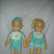 Vintage Chatty Cathy Baby Brother and Sister Dolls by Mattel 1960s