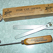 REDUCED 3 Kitchen Gadgets Star Can Opener 1925 in box Ice Pick & Pie Crimper