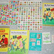 REDUCED My First Stamp Outfit Boxed Album Book Set Boy & Girl Scout Cover 1975