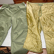 Military Trousers Cold Weather Pants & Liner Medium Army 107 Cargo Pockets 1976-78