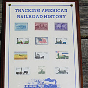 REDUCED U.S. Postage Stamps Railroad Train Plaque American History Tracking