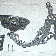 REDUCED Cast Iron Oil Lamp Holder Pat�d June 7 1881 & Wall Mount Bracket Ornate ...