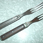 Three Tine 3 Prong Civil War Era Forks Re-enactors Cutlery Walnut Pewter & Solid