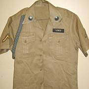 Military Army Khaki Uniform Shirt Short Sleeve Brass 1955 Small Cotton Berlin PFC Enlisted