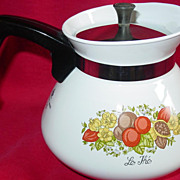 Corning Ware Spice of Life Tea Pot 6 Cup P-104 with metal cover
