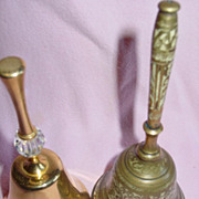 2 Brass Bells Desk Classroom Decorative Flower Etched India & Hong Kong