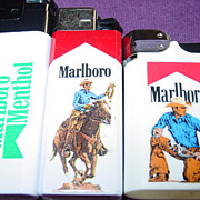 3 Marlboro Man & Scripto Menthol Cigarette Lighters Cowboy Horse Branding Advertising