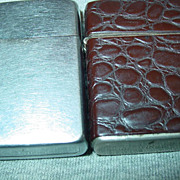 2 Champ Austria Cigarette Lighters Leatherette & Pat.2809511 1957