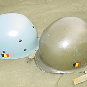 REDUCED Military Belgium M1 Style Helmet Steel Pot Blue Plastic Liner 1960s Levior NATO Set