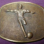 Soccer Player Brass Belt Buckle Buttler Sport Enterprises