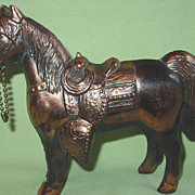 Western Cowboy Horse Pony Figure Copper colored Cast Pot Metal