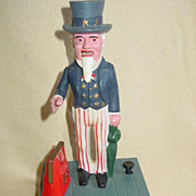 Uncle Sam Plastic Bank Mechanical Drop of Coin into Bag Made in Hong Kong