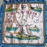Military Pillow Case Navy Portsmouth Virginia Mother Souvenir Ship Sub Cruiser Carrier