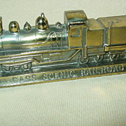 Cass West Virginia Railroad Paperweight Scenic Gold Colored Train Metal Souvenir