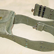 Military Cotton Canvas Web Pistol Belt M-1936 Style & Vietnam War Era First Aid Case