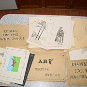 Martha Graham Art Drawing Sketch Folders 1940-42 Pencil Artist Homework Design