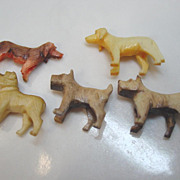 5 Carved Plastic Dogs Miniature Terrier Bulldog Dachshund Toy Figures
