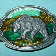 Siskiyou Grizzly Bear Belt Buckle Pewter Enamel F-30 1984 Williams Oregon