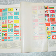Flags of World Ships Color Lithograph America Hawaii Samoa Europe Asia Africa Maritime