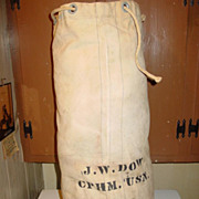 Military WWII Navy Sailor Duffel Bag White Canvas CPHM Sea Ship Gear Duffle Gear