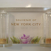 Lucite Salt & Pepper Shaker New York City Souvenir Purple Rose Acrylic Paperweight