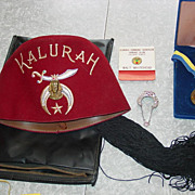 Kalurah Temple Shriner Fez Hat Paul Harris Fellow Medal Masonic Freemason Items