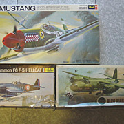 Model Kits WWII Airplane Revell Mustang P-51B Airfix B-26 Marauder Heller Grumman Hellcat F6