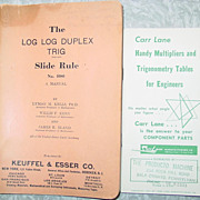 Log Log Duplex Trig Slide Rule Manual No. 4080 & Trigonometry Tables for Engineers