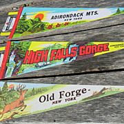 3 Adirondack Mts. Pennants High Falls Gorge Old Forge New York Souvenir 25 Felt Flag