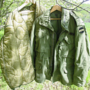 Military Field Jacket Vietnam War 1970 Era M-65 Medium OG-107 & Coat Liner 1978 as is
