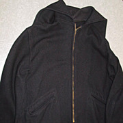Navy Midshipman Cadet Jacket Eddie Leonard Sporting Goods Large Wool Hooded Pea Coat