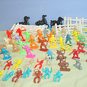 Toy Plastic Cowboy & Indian Figures Fence Western Hong Kong Orange Red Green as is