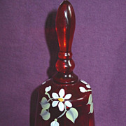 Fenton Bell Ruby Red Art Glass Hand Painted Daisies Flowers signed Sallman
