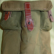 Military Pouch Canvas & Leather Army Rifle Magazine Ammo 5 Pocket for Survival Kit
