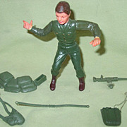 Marx Toy Soldier WWII Figure Flexible Painted Plastic Made in Hong Kong with Accessories