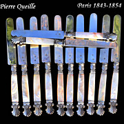 SALE Pierre Queille: Antique French Sterling Mother of pearl Dessert Knife Set 12 BOX