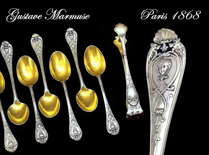 Gustave Marmuse: French Sterling Spoons (11) & Tongs: Mascarons!