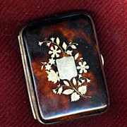 Antique French Tortoise Shell Coin Purse  Pewter Inlay c 1860
