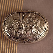 Antique Dutch Sterling Silver Snuff Trinket Box 1886